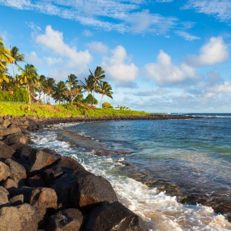 Poipu beach in afternoon light, Kauai. photo