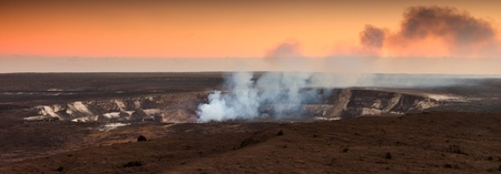 Sulfur vapors coming out of the active Halemaumau crater in Volcanoes National Park, Hawaii Big Island. photo