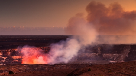Fire glow coming out of the active Halemaumau crater in Volcanoes National Park, Hawaii Big Island.