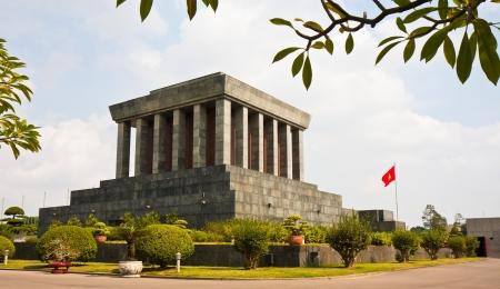 mausoleum: Backside view of the Ho Chi Minh mausoleum in Hanoi, Vietnam.