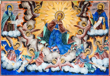 famous painting: RILA, BULGARIA - JULY 8: Holy Virgin frescos, painted in 1840-1847 on the Nativity of the Virgin church in Rila Monastery