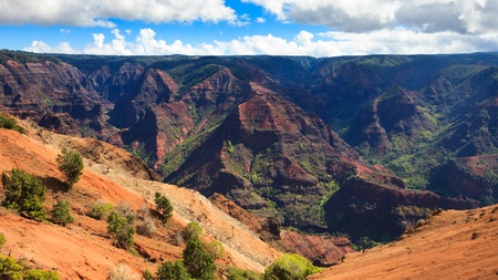 Panoramic view of beautiful Waimea Canyon in Kauai, Hawaii Islands. photo