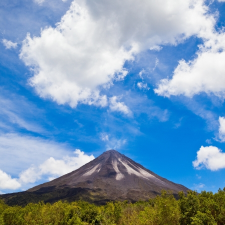 stratovolcano: Amazing view of the Arenal Volcano in Costa Rica. Stock Photo