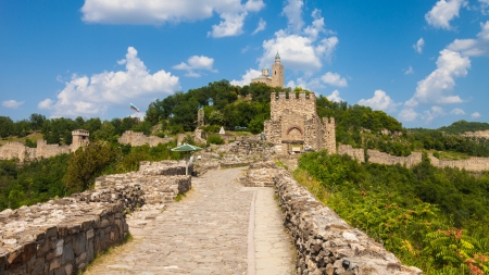 Panoramic view of the Tsarevets Fortress in Veliko Turnovo, Bulgaria.