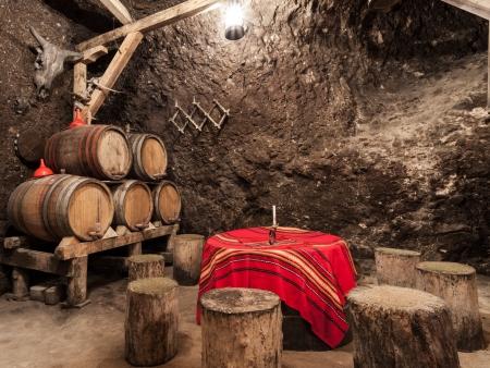 oak barrel: Cozy atmosphere in a wine cellar in Malnik, Bulgaria. Editorial