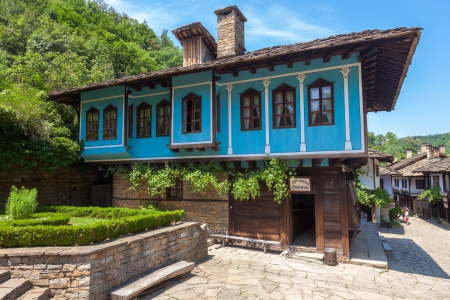 Blue house in the Bulgarian Revival style in Etar, Bulgaria.
