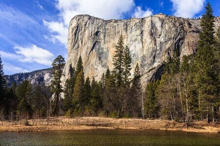 View of El Capitan over the Merced River   photo