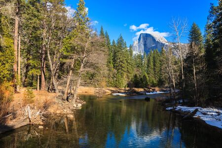 Half Dome reflected in the Merced River Stock Photo - 16733568