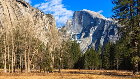 half dome: Panorama of Yosemite Valley with Half Dome.