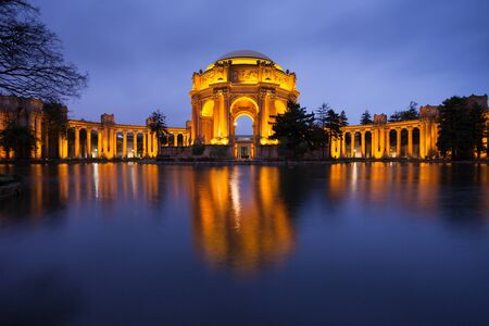 sf: Palace of Fine Arts Museum at Night in San Francisco. Editorial