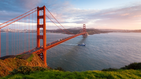 Golden Gate Bridge at sunset, seen from Marin Headlands. Stock Photo