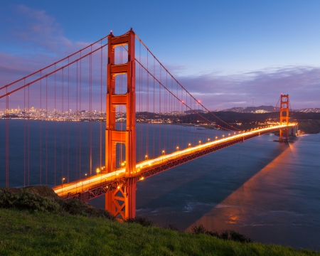 Long exposure image of Golden Gate Bridge at sunset.