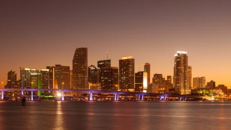 Miami skyline at sunset, seen from Watson Island..