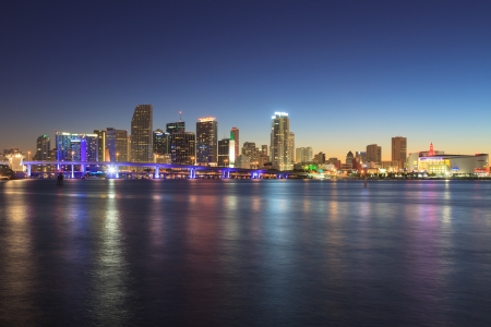 Miami skyline at night, seen from Watson Island.. photo