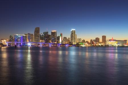 atlantic city: Miami skyline at night, seen from Watson Island..