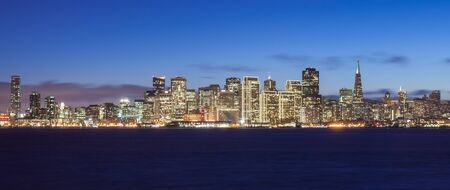 San Francisco skyline at night, with holiday season lights. photo
