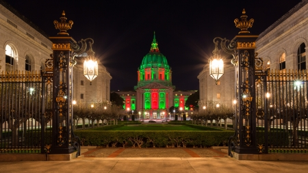 View of San Francisco City Hall in red and green light around Christmas. photo