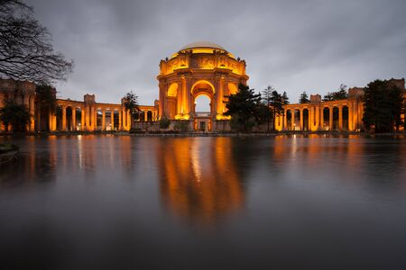 fine arts: Palace of Fine Arts Museum at on a cloudy night in San Francisco.