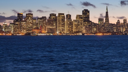 San Francisco skyline at sunset, seen from Treasure Island photo