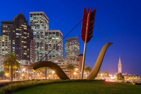 Cupids Span statue by famous artists Claes Oldenburg and Coosje van Bruggen in Rincon Park, San Francisco