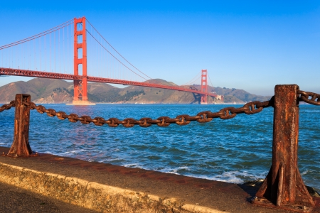 Golden Gate Bridge on a clear morning, seen from Fort Point. Stock Photo - 17279279