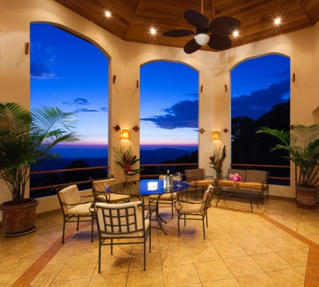 Large terrace with an amazing view at a Costa Rica house.