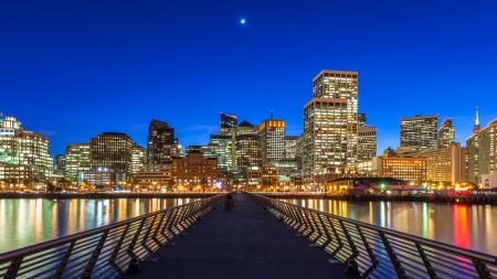 San Francisco view from Pier 14 at night  Stock Photo