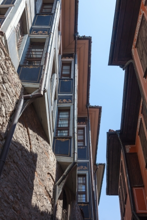 Dramatic angle view of old houses in historic Plovdiv, Bulgaria. 写真素材