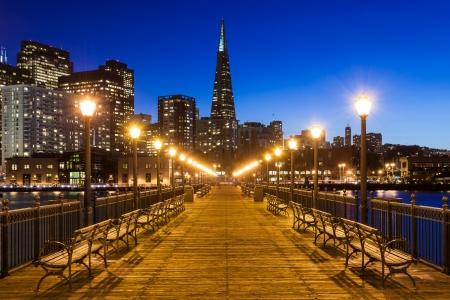 Pier 7 in San Francisco at night.