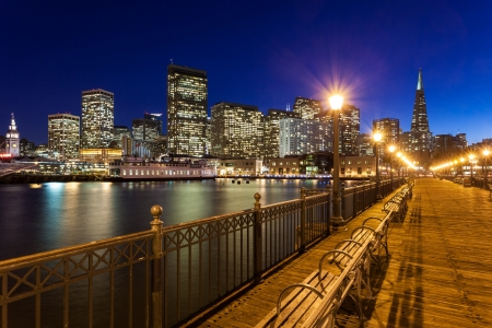 bay area: Romantic view of San Francisco at night from Pier 7.