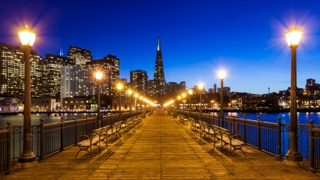 Pier 7 panorama in San Francisco at night.