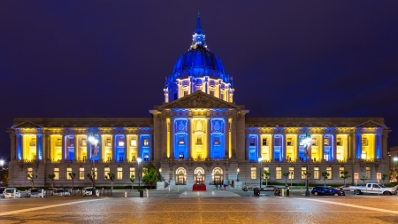 playoffs: City Hall in blue and gold light in honor of the Golden State Warriors making the NBA playoffs
