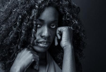 Portrait einer ängstlich oder depressiv black girl.