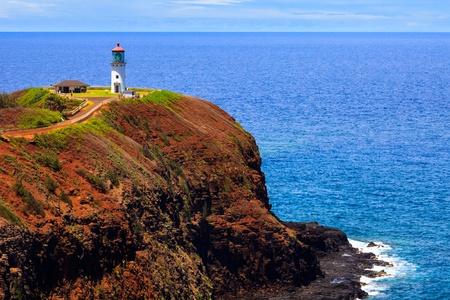 kilauea: Kilauea lighthouse on a sunny day in Kauai, Hawaii Islands  Stock Photo