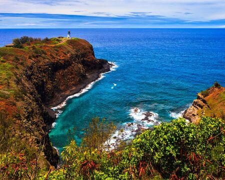 kilauea: Kilauea lighthouse bay on a sunny day in Kauai, Hawaii Islands