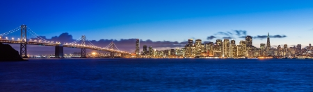 Evening panorama of San Francisco and Bay Bridge taken from Treasure Island  photo