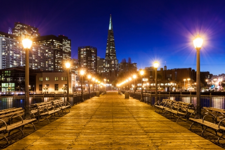 docks: Pier 7 in San Francisco at night