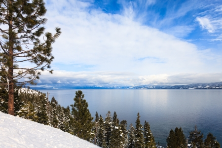 Sunny winter day at Lake Tahoe, California