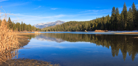 ponderosa pine winter: Panorama of lake Hume in Sequoia and Kings Canyon National Park, California