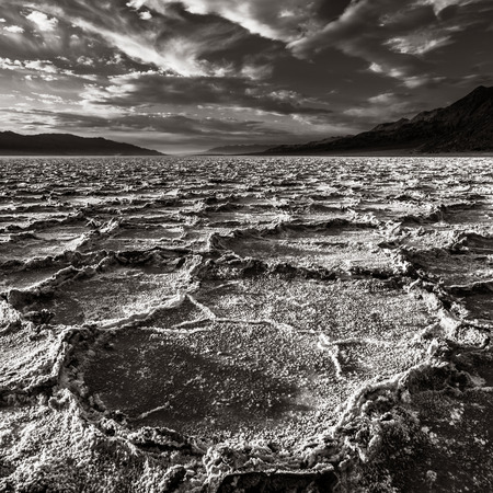 Salt pans at Badwater basin in Death Valley National Park, California  photo