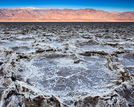 Badwater basin at sunrise in Death Valley National Park, California  photo