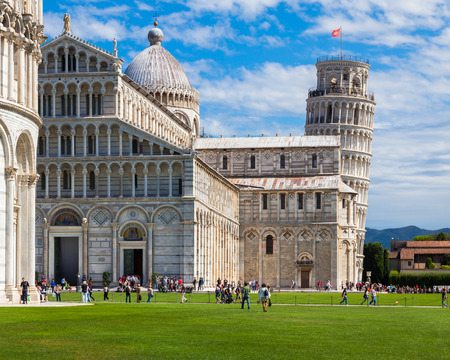 leaning tower of pisa: Piazza dei Miracoli with its leaning tower in Pisa, Italy.