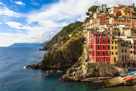 cinque terre: Riomaggiore in Cinque Terre National Park in Liguria, Italy Stock Photo