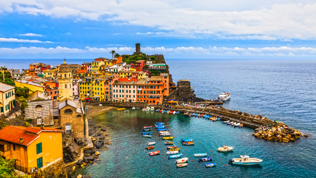 cinque: Panoramic view of beautiful Vernazza in Cinque Terre, Italy. Editorial