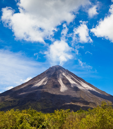 stratovolcano: Amazing view of the active side of Arenal Volcano in Costa Rica. Stock Photo