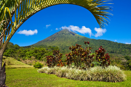 rica: Beautiful view of the green side of the Arenal volcano, Costa Rica.