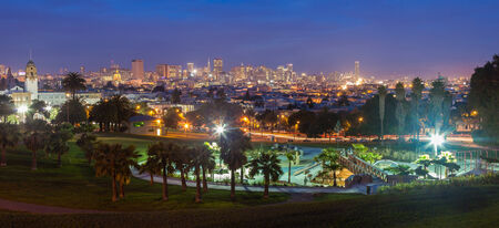 View of downtown San Francisco at night from Dolores Park in the Mission district. Stock Photo