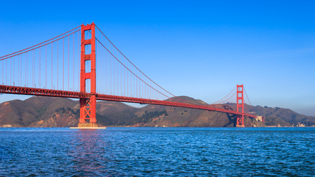 Golden Gate Bridge on a clear sunny morning in San Francisco. Stock Photo