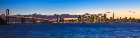 Evening panorama of San Francisco and Bay Bridge taken from Treasure Island. photo