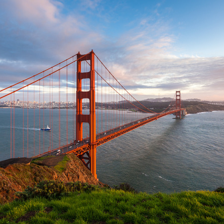 marin: Golden Gate Bridge at sunset, seen from Marin Headlands. Stock Photo